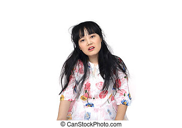 Cute Asian Girl Feeling Exhausted.