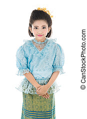 Cute asian girl in Thai costume on white background.