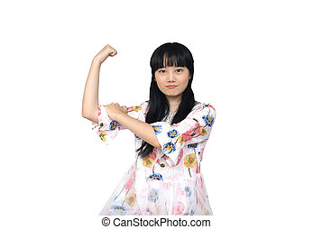 Cute Asian Girl Looking Confident and Strong.