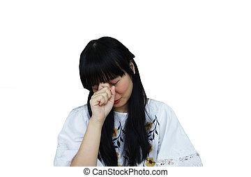 Cute Asian Girl Looking Sad from Headache.