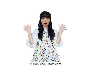 Cute Asian Girl Looking Surprise at Camera.