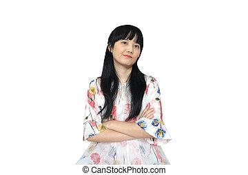 Cute Asian Girl Looking Unhappy.