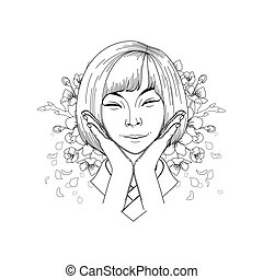 Cute asian girl - Portret of cute smiling asian girl posing ...
