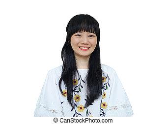 Cute Asian Girl Smiling at Camera.