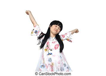 Cute Asian Girl Stretch Lazily.
