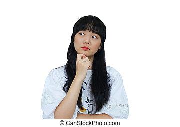 Cute Asian Girl Thinking.