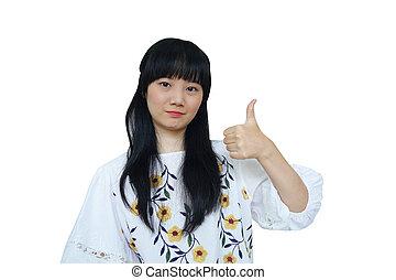 Cute Asian Girl Thump Up.