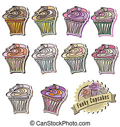 Cute assortment of vector cupcakes