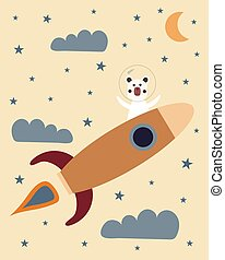 Cute astronaut bear on a space rocket with clouds, stars and the moon as a background