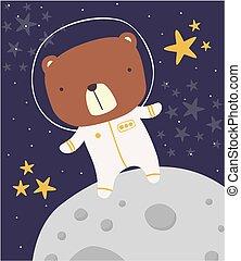 cute astronaut bear on moon