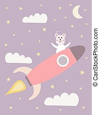 Cute astronaut bears on a space rocket with clouds, stars and the moon as a background