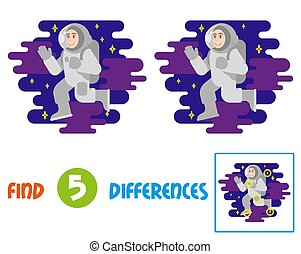 Find differences logic education game for children. Young smile cute cosmonaut astronaut in spacesuit which fly in free between stars cosmic clouds. Flying conquest man into space. Illustration.