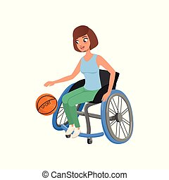 Cute athlete woman with physical disabilities playing in...