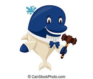Cute Auction Blue Whale Cartoon Character