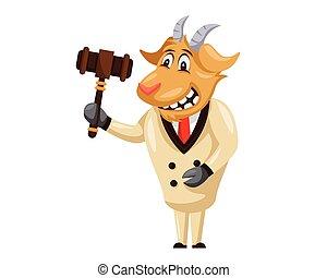 Cute Auction Goat Cartoon Character