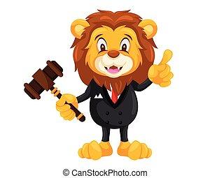 Cute Auction Lion Cartoon Character