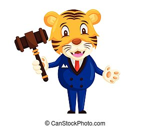 Cute Auction Tiger Cartoon Character