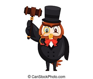 Cute Auction Wise Owl Cartoon Character