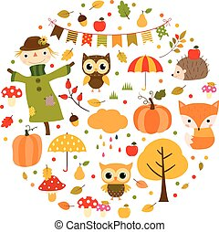 Cute autumn and Thanksgiving drawings in orange, green and red colors in circle shape for greeting cards, brochures and flyers.