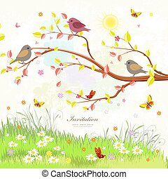 cute autumn greeting card with birds on branch tree and butterfl