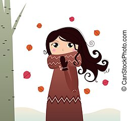 Cute autumn lady in coat and scarf