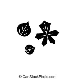 Cute autumn leaves black icon, vector sign on isolated background. Cute autumn leaves concept symbol, illustration