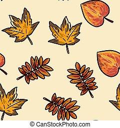 Cute autumn leaves cartoon seamless pattern. Fall decoration background texture tile