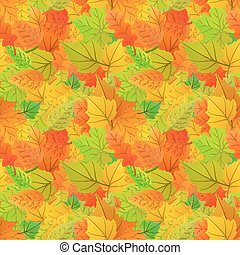 Cute autumn leaves from different kind of trees, seamless pattern