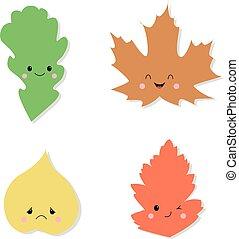 Cute autumn leaves illustration. Cartoon character. Smile.
