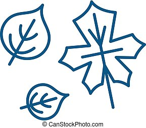 Cute autumn leaves line icon concept. Cute autumn leaves flat  vector symbol, sign, outline illustration.