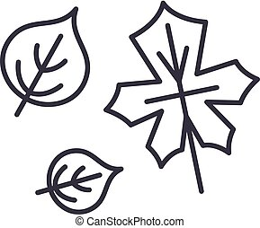 Cute autumn leaves line icon concept. Cute autumn leaves vector linear illustration, symbol, sign
