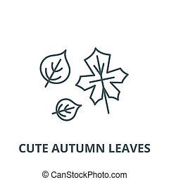 Cute autumn leaves vector line icon, linear concept, outline sign, symbol