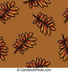 Cute autumn rowan leaves cartoon seamless pattern. Fall decoration background texture tile