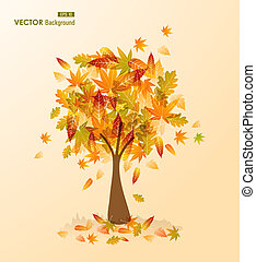 Cute autumn season transparent leaves tree background. EPS10 vector file with transparency for easy editing