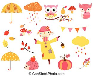 Cute autumn set in warm colors with animal characters, scarecrow and fall design elements for kids and babies