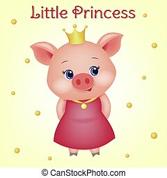 Cute avatar of a little pig princess with blue eyes. 3d animal with a crown in a red dress and a gold medal on a ribbon, cartoon character. Funny little piglet design, vector illustration