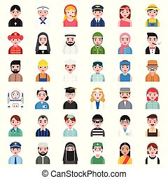 cute avatar of people in various professional and culture ...