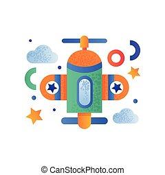 cute, avião brinquedo, topo, ilustração, ar, vetorial, fundo, veículo, branca, transporte, vista