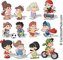 cute, børn, cartoon, spille