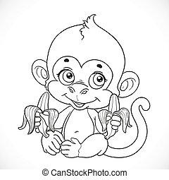cute, baby abe, hos, banan, skitseret, isoleret, på, en, hvid baggrund