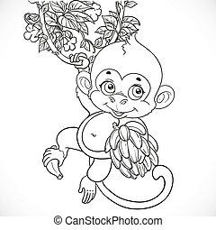 cute, baby abe, hos, bananer, skitseret, isoleret, på, en, hvid baggrund