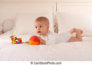 Cute baby and toys