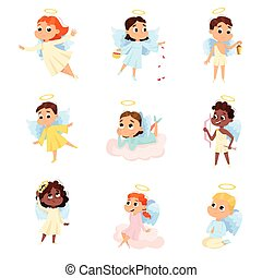 Cute Baby Angels Set, Angelic Boys and Girls with Wings and Halo Cartoon Style Vector Illustration