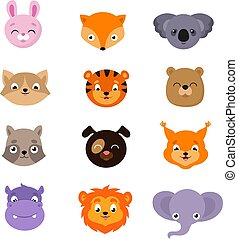 Cute baby animal faces vector set
