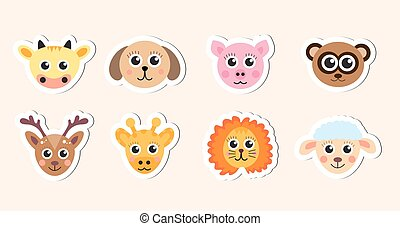cute baby animal head stickers vector illustration
