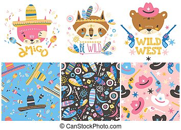 Cute baby animals and seamless patterns. Hand drawn vector illustration