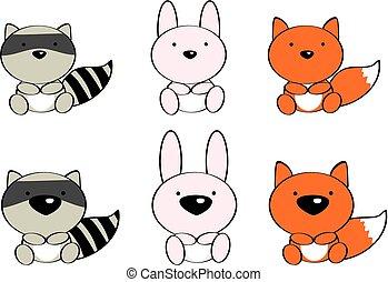 cute baby animals cartoon set 0