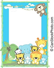 cute baby animals frame