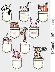 Cute baby animals in a pocket, vector set