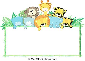 cute baby animals jungle frame